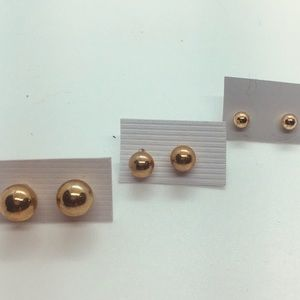 Gold Plated Small, Medium and Large Stud  Earrings